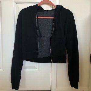 Brandy Melville black cropped zip up